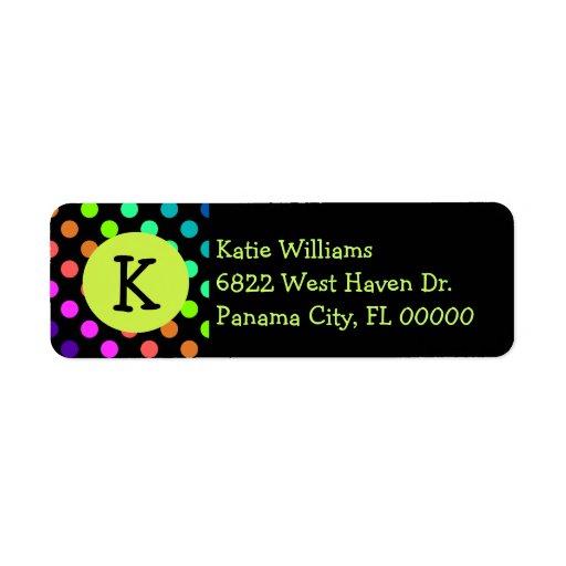 Fun Colorful Polka Dots With Monogram Return Address Labels