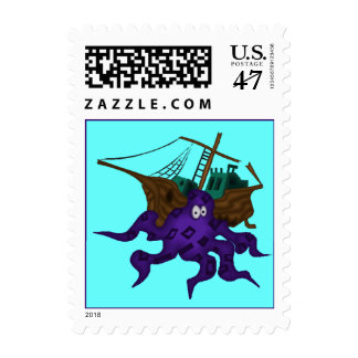 Fun Colorful Purple Octopus in Sea Postage Stamps