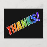 "[ Thumbnail: Fun, Colorful, Rainbow Look ""Thanks!"" Postcard ]"