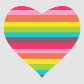 Fun Colorful Rainbow Stripes Girly Color Pattern Heart Sticker