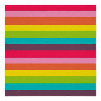 Fun Colorful Rainbow Stripes Girly Color Pattern Poster