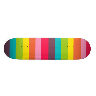 Fun Colorful Rainbow Stripes Girly Color Pattern Skateboard Deck