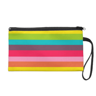 Fun Colorful Rainbow Stripes Girly Color Pattern Wristlet