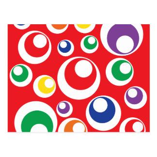 Fun Colorful Red Circles Dots Balls Pattern Postcard