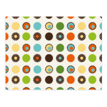 Fun Colorful Retro Boho Abstract Pattern Postcard