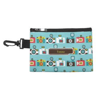 Fun Colorful Retro Lomo Cameras Pattern (Blue) Accessory Bag