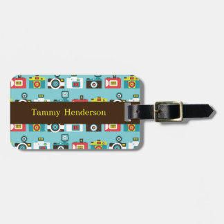 Fun Colorful Retro Lomo Cameras Pattern (Blue) Bag Tag