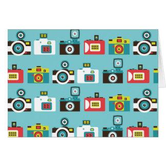 Fun Colorful Retro Lomo Cameras Pattern (Blue) Card
