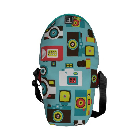 Fun Colorful Retro Lomo Cameras Pattern (Blue) Courier Bag