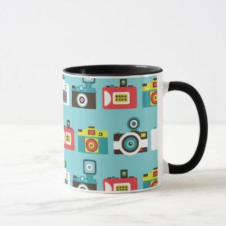 Fun Colorful Retro Lomo Cameras Pattern (Blue) Mug