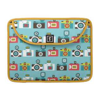 Fun Colorful Retro Lomo Cameras Pattern (Blue) Sleeve For MacBooks
