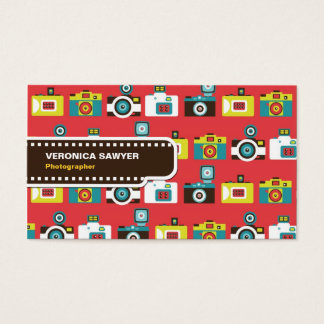 Fun Colorful Retro Lomo Cameras Pattern Business Card