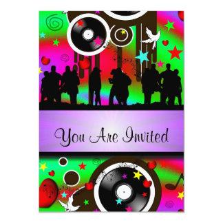Fun colorful retro music  party card
