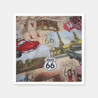 Fun Colorful Route 66 Collage Pattern Napkin
