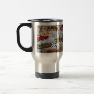 Fun Colorful Route 66 Collage Pattern Travel Mug