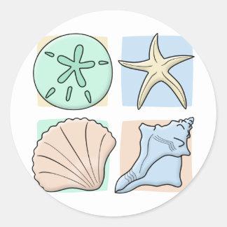Fun Colorful Shells Round Sticker