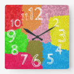 Fun Colorful Stained Glass Mosaic Design Large Square Wall Clock