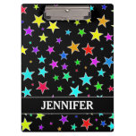 [ Thumbnail: Fun, Colorful Stars Pattern + Custom Name Clipboard ]