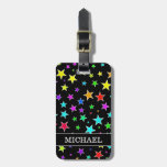[ Thumbnail: Fun, Colorful Stars Pattern + Custom Name Luggage Tag ]