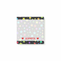 Fun, Colorful Stars Pattern & Custom Name Note