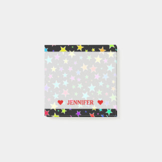 Fun, Colorful Stars Pattern & Custom Name Note