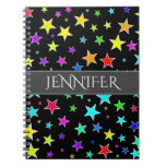 [ Thumbnail: Fun, Colorful Stars Pattern + Personalized Name Notebook ]