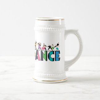Fun & Colorful Striped Dancers Dance Beer Stein