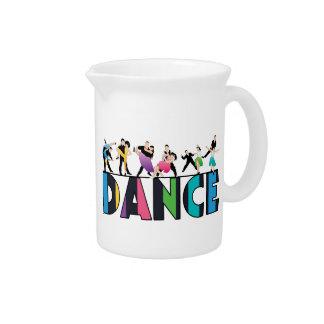 Fun & Colorful Striped Dancers Dance Beverage Pitcher