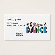 Fun & Colorful Striped Dancers Dance Business Card at Zazzle