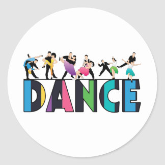 Fun & Colorful Striped Dancers Dance Classic Round Sticker