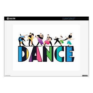 "Fun Colorful Striped Dancers Dance Decal For 15"" Laptop"
