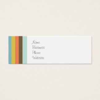 Fun Colorful Stripes Blue Orange Purple Brown Mini Business Card