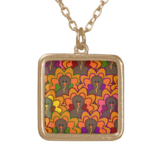 Fun Colorful Thanksgiving Turkeys Gold Plated Necklace