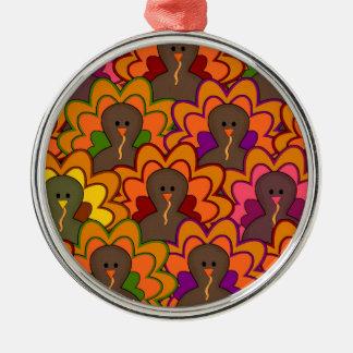 Fun Colorful Thanksgiving Turkeys Metal Ornament
