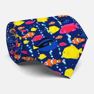 Fun Colorful Tropical Fish and Bubbles Neck Tie