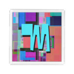 Fun Colorful Turquoise Blue Geometric Monogram Acrylic Tray