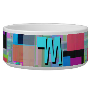 Fun Colorful Turquoise Blue Geometric Monogram Bowl