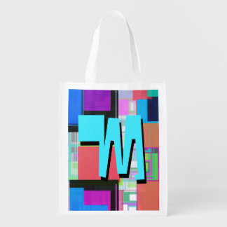 Fun Colorful Turquoise Blue Geometric Monogram Reusable Grocery Bag