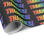 "[ Thumbnail: Fun, Colorful, Vibrant, Rainbow Look ""Thanks!"" Wrapping Paper ]"