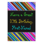 [ Thumbnail: Fun, Colorful, Whimsical 10th Birthday Card ]