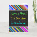 [ Thumbnail: Fun, Colorful, Whimsical 11th Birthday Card ]