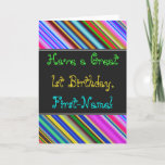 [ Thumbnail: Fun, Colorful, Whimsical 1st Birthday Card ]