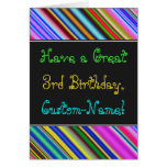 [ Thumbnail: Fun, Colorful, Whimsical 3rd Birthday Card ]