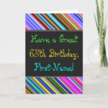 [ Thumbnail: Fun, Colorful, Whimsical 65th Birthday Card ]