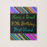 [ Thumbnail: Fun, Colorful, Whimsical 80th Birthday Puzzle ]