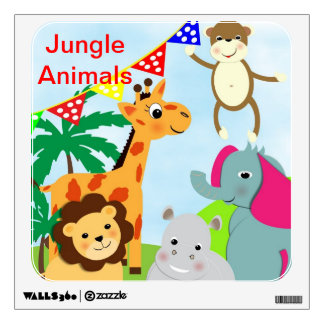 Fun Colorful  Whimsical Jungle Animals Wall Decal