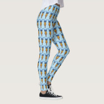 Fun Colorful Whimsical Owls blue Heads Eyes Leggings