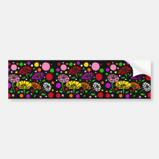 Fun Colorful Zinnia Flowers Abstract Art Bumper Sticker