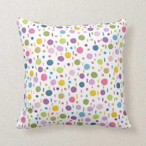 Fun colourful dotty painted throw pillow