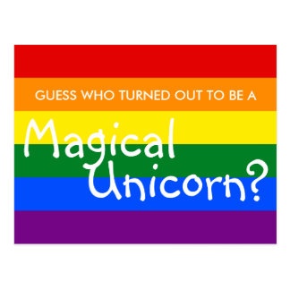 Fun Coming Out Magical Unicorn (Customizable Text) Postcard